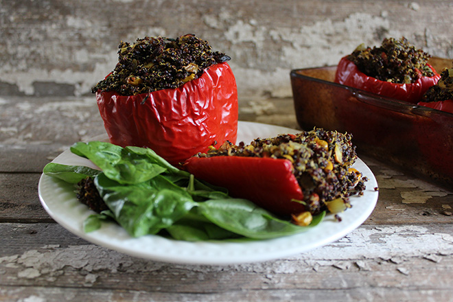 MoraccanQuinoaStuffedRedPepper Moroccan Quinoa Stuffed Red Peppers