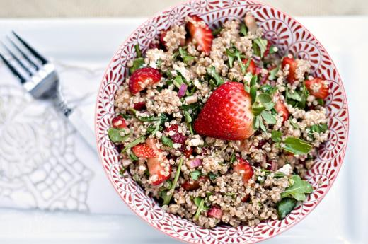 strawberry goat cheese and quinoa salad large Strawberry, Goat Cheese and Quinoa Salad