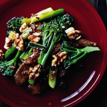Gingered Beef with Broccolini and Walnuts