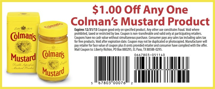 Colmans Mustard Coupon 721x300 Artichoke Mustard Baked Brie