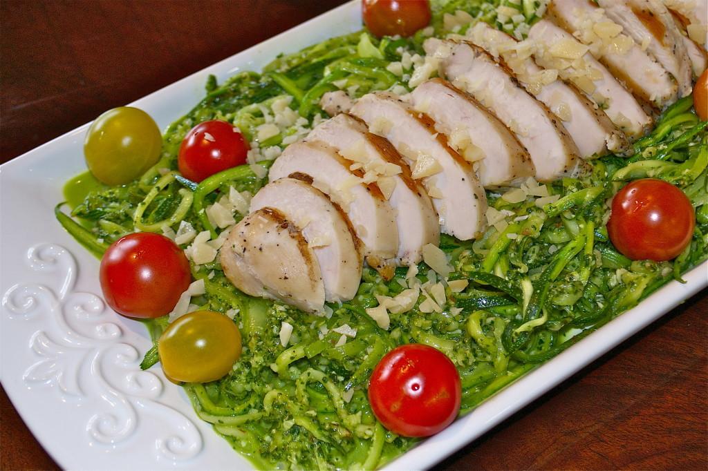 Zucchini Pasta Skinny Jeans Zucchini Pesto Pasta with Chicken